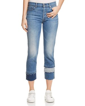 7 For All Mankind Edie Tiered Hem Jeans in Vintage Blue Dunes 2842153