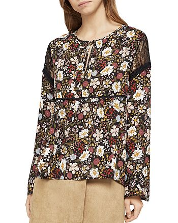 BCBGeneration - Lace-Inset Floral Print Top