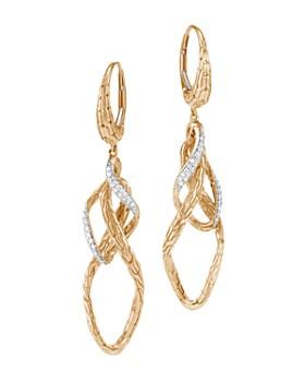 JOHN HARDY - 18K Yellow Gold Classic Chain Pavé Diamond Drop Earrings