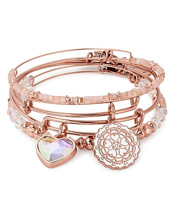 Alex and Ani - Paper Hearts Expandable Wire Bangles, Set of 4