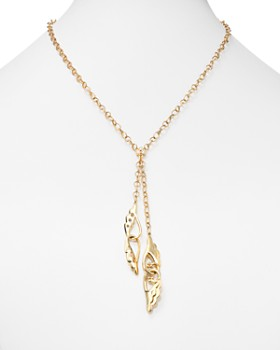 """Temple St. Clair - 18K Yellow Gold Diamond Double Wing Y Drop Necklace, 20"""" - 100% Exclusive"""