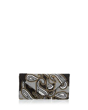 FROM ST XAVIER Paisley Beaded Clutch in Black Multi/Gold