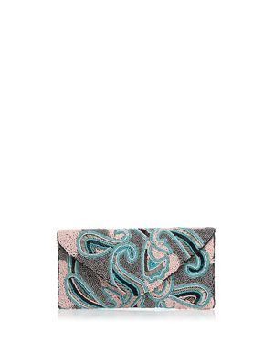 FROM ST XAVIER Paisley Beaded Clutch in Pink Multi/Silver