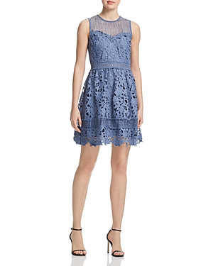 Aqua Crochet & Lace Fit-and-Flare Dress - 100% Exclusive