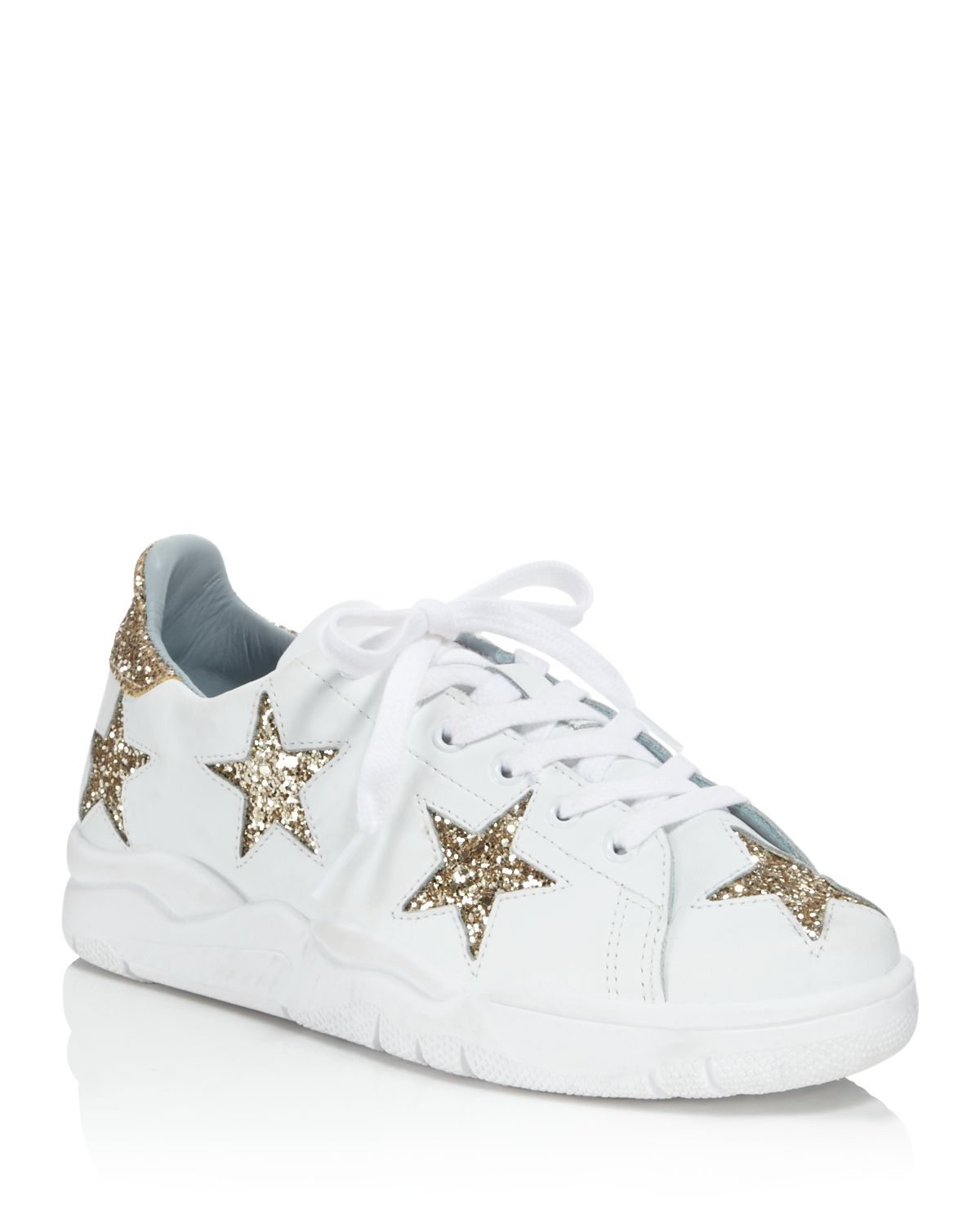 Chiara Ferragni Leather & Glitter Star Low Top Lace Up Sneakers
