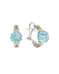 LAGOS - 18K Gold & Sterling Silver Caviar Forever Diamond & Sky Blue Topaz Melon Bead Half Hoop Earrings