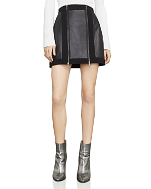 Bcbgmaxazria Roxy Faux-Leather Detail Mini Skirt