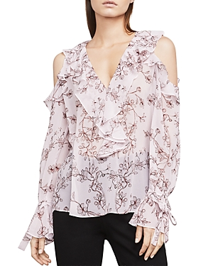Bcbgmaxazria Laurenne Ruffled Cold-Shoulder Top