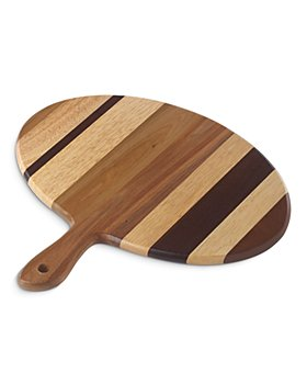 Dansk - Signy Striped Wood Oval Handled Tray