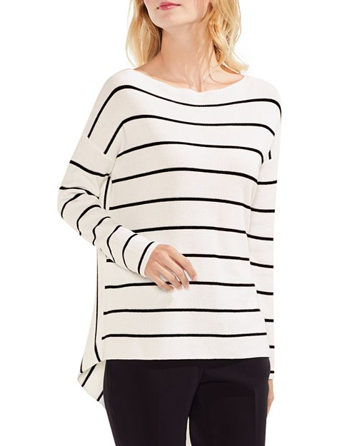 VINCE CAMUTO - High/Low Ribbed Striped Sweater