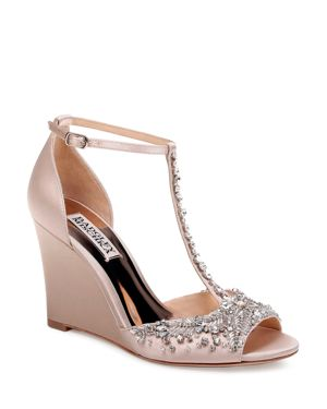 WOMEN'S SARAH EMBELLISHED SATIN T-STRAP WEDGE SANDALS