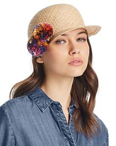 AQUA Pom-Pom Straw Framer Cap - 100% Exclusive - Bloomingdale's_0