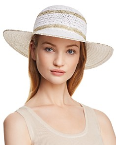AQUA Metallic Striped Floppy Sun Hat - 100% Exclusive - Bloomingdale's_0