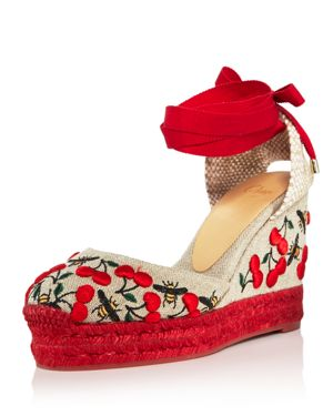 WOMEN'S CARINA MERLION PARK EMBROIDERED ANKLE TIE WEDGE ESPADRILLES
