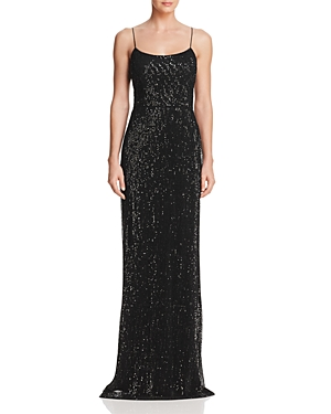 Adrianna Papell Sequined Pleated-Mesh Gown