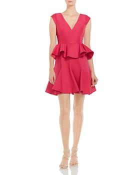 HALSTON HERITAGE - Ruffled Peplum Dress