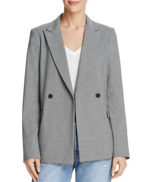 DYLAN GRAY DOUBLE-BREASTED MICRO HOUNDSTOOTH BLAZER