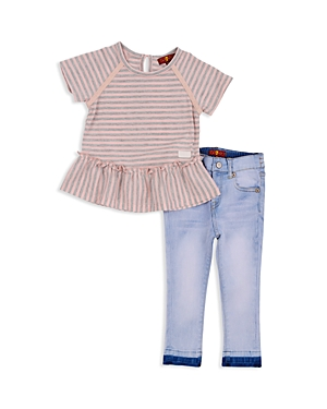 7 For All Mankind Girls Striped Ruffled Tee  LightWash Skinny Jeans Set  Baby