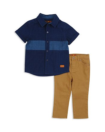 7 For All Mankind - Boys' Button-Down Shirt & Twill Pants Set - Baby