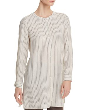 Eileen Fisher Pinstriped Silk Tunic Top