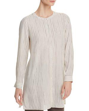 Eileen Fisher Pinstriped Silk Tunic Top