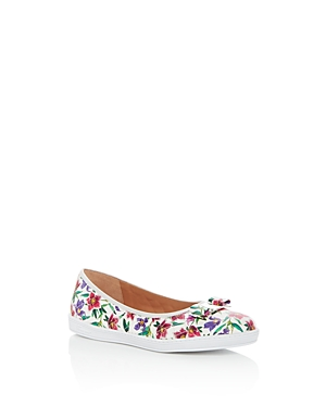 Salvatore Ferragamo Girls Floral Print Leather Sneaker Flats  Toddler Little Kid Big Kid