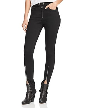 rag & bone/Jean Isabel Zip Hem Skinny Jeans in Black