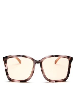 Women'S It Aint Baroque Oversized Mirrored Square Sunglasses, 60Mm, Apricot Tort