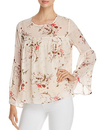 B Collection by Bobeau - Rayes Floral-Print Bell-Sleeve Top
