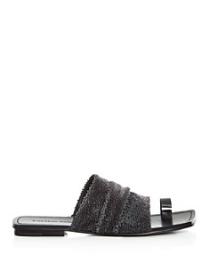 Sigerson Morrison - Women's Abbe Textured Patent Leather Slide Sandals