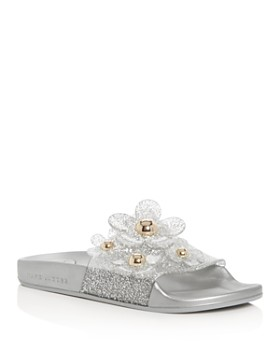 MARC JACOBS - Women's Daisy Embellished Glitter Pool Slide Sandals