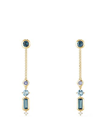 David Yurman - Novella Drop Earrings in Hamtpon Blue Topaz, Tanzanite & Aquamarine with Diamonds