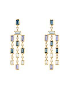 David Yurman - Novella Earrings in Hampton Blue Topaz, Aquamarine & Tanzanite with Diamonds