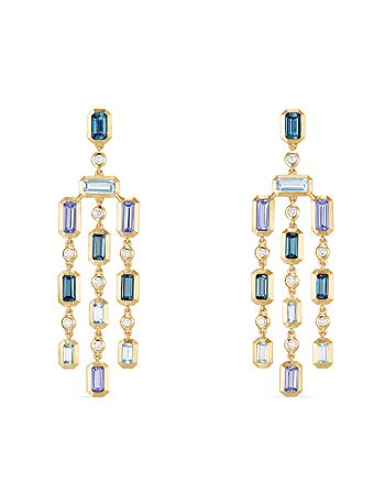 David Yurman - Novella Earrings in Hampton Blue Topaz, Aquamarine & Tanzanite with Diamonds