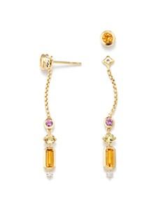 David Yurman - Novella Drop Earrings in Citrine, Yellow Beryl & Pink Sapphire with Diamonds