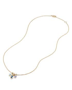 David Yurman - Novella Pendant Necklace with Hampton Blue Topaz, Aquamarine & Tanzanite
