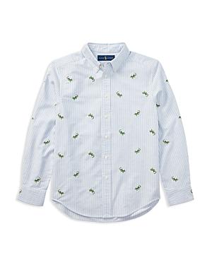 Ralph Lauren Childrenswear Boys Striped Lizard Oxford Shirt  Big Kid