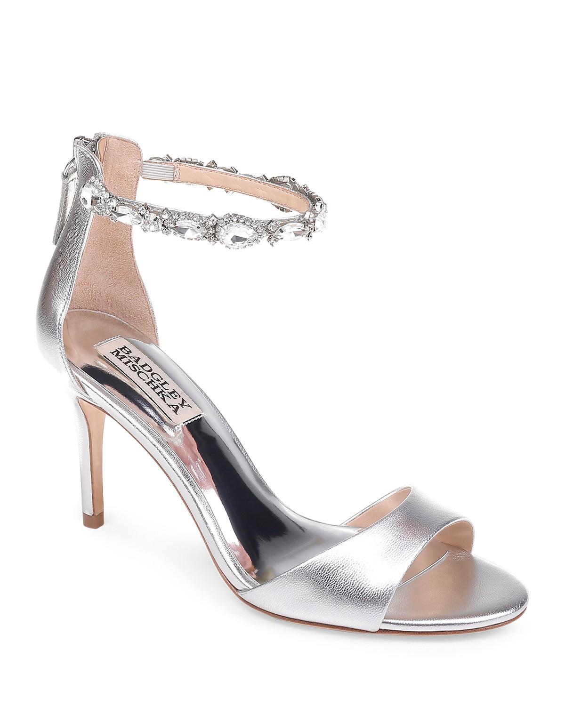 Badgley Mischka Women's Sindy Leather Embellished Ankle Strap High-Heel Sandals GDSIxpjXtZ