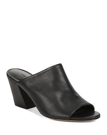 Vince - Women's Baldriz Leather Block Heel Slide Sandals