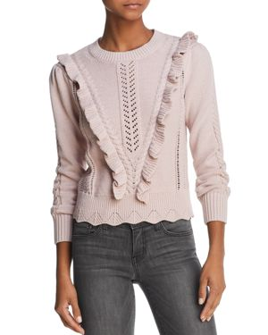 Rebecca Taylor Ruffled Mixed-Stitch Sweater