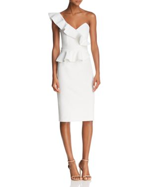 Bardot One-Shoulder Peplum Dress