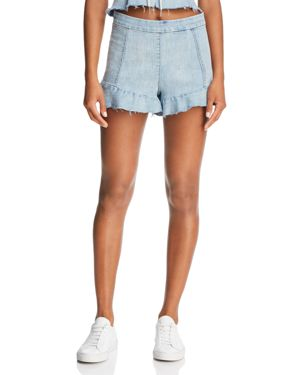 RUFFLED DENIM SHORTS IN CHAMPAGNE SOCIAL - 100% EXCLUSIVE