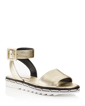 Shimmy Ankle-Strap Platform Leather Sandals, Gold Leather