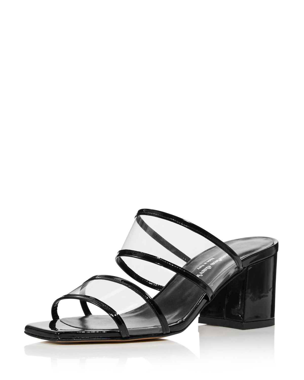 Charles David Women's Cally Leather Illusion Block Heel Slide Sandals