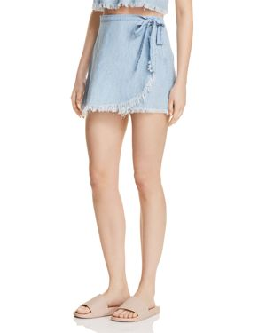 Show Me Your MuMu Frayed Chambray Skort