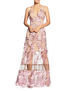 Dress the Population - Gigi Floral Illusion Gown