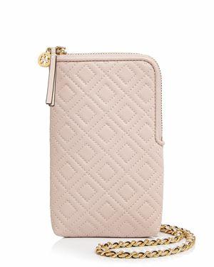 Fleming Lambskin Leather Phone Crossbody Bag - Pink, Shell Pink/Gold