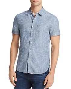 AG - Pearson Printed Leaves Regular Fit Button-Down Shirt
