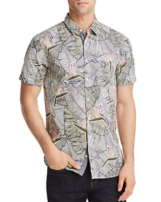 BOSS Orange Cattitude Palm Leaf Woven Slim Fit Shirt - Bloomingdale's_0
