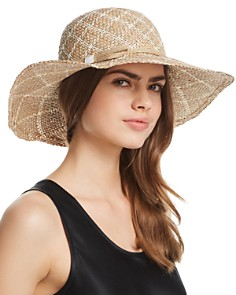 AQUA Two-Tone Patterned Straw Sun Hat - 100% Exclusive - Bloomingdale's_0
